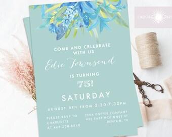 Birthday Invite, Adult Birthday Invitation, Floral Watercolor Invite, Blue Invitation, Printable, Blue Floral Invite, Elegant, jadorepaperie