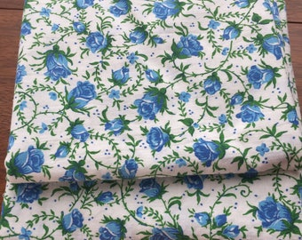 Vintage Blue Rose Fabric 36 inches wide x 1 yard