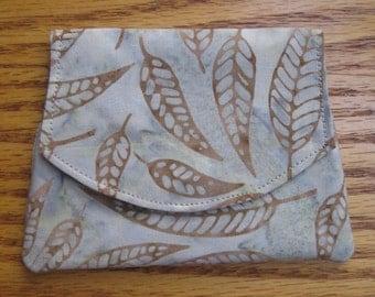 Brown Falling Leaves Small Batik Wallet