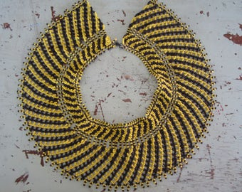 Vintage Seed Bead Collar / Bib Yellow and Black Elaborate Wide Design