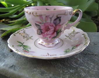 Vintage Lefton China Demitasse Teacup & Saucer Pink Roses Gold Embellished Beautiful Cottage Chic Decor