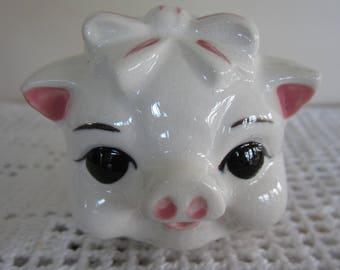 Vintage Ceramic Flowered Piggy Bank Adorable Face Made in Japan