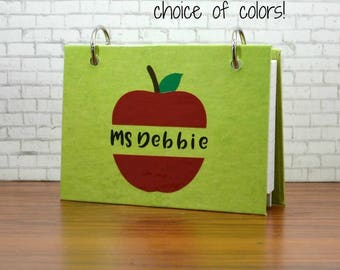 3 x 5 or 4 x 6 index card binder with a red apple personalized for a teacher gift, end of the year gifts, school notes binder, flashcards