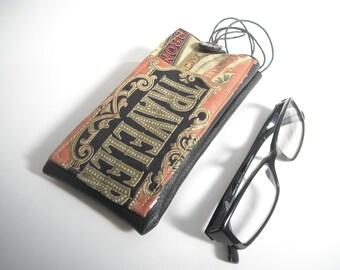 Traveller eyewear case with lanyard, eyeglass neck holder with pocket, black vinyl vegan leather glasses cover, sunglasses case