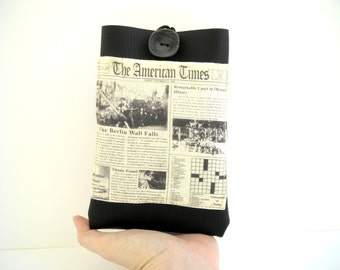 "Kindle Paperwhite case, eReader 6""holder, black vegan faux leather cover with pocket, newspaper pattern American Times on e reader sleeve"