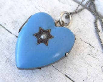Victorian Blue Enamel Seed and Star Locket Necklace with 1800s Tin photo of a Woman. Robins Egg Blue Victorian Necklace.
