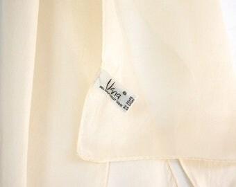 Solid ivory silk scarf by Vera Neumann. Vera silk scarf. white silk scarf, off white silk scarf, solid white silk scarf, oblong white scarf