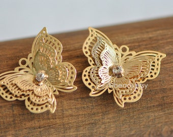 2pcs Gold plated Brass Butterfly Filigree Pendant Charms 30mm (GB-012)
