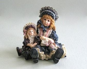 Boyd Yesterdays Child Collectible Figurine Victorian Girl Figurine Girl with Doll Little Girl Figurine Resin Figurine Friends 1995 Boyd Bear