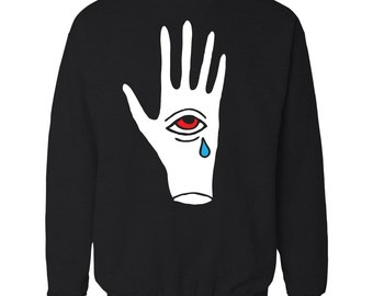 Crying third eye in hand crewneck sweater. Strange occult teardrop palm illuminati sweatshirt.