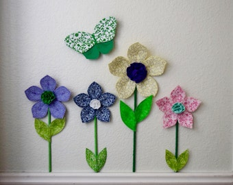 flower wall decal- girls room nursery decor- fabric wall flowers- 3d wall decor- flower wall- navy fabric flower- spring garden