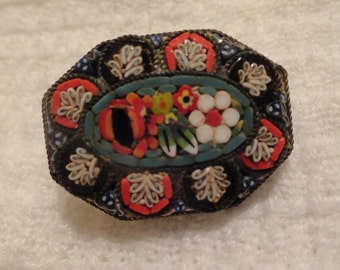 Vintage Micro Mosaic Brooch Exceptional Detail
