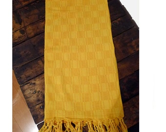 """Hand-Loomed 100% Organic Cotton, Bright Yellow Checkerboard Tablecloth, Throw, Picnic Blanket with Hand Tied Tassels 53"""" X 56"""""""