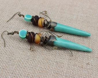 Long Gypsy Earrings, Rustic Earrings, Boho Earrings, Tribal Earrings, Handmade Earrings, Beaded Earrings, Dangle Earrings, Green Earrings