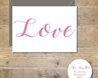 Wedding Thank You Cards, Bridal Shower, Thank You Cards, Love Wedding Thank You Cards, Affordable Wedding, Calligraphy