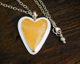 Sunny Yellow Calcite Heart and Sterling Silver Necklace