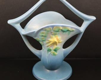 Roseville, Columbine, Blue, Basket Vase, 365-7