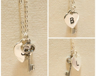 Key To Your Heart Stamped Initial with Silver Key Charm Personalized Letter Sterling Silver Necklace
