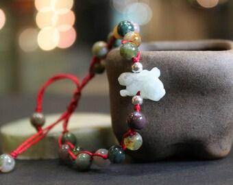 Jade Rabbit Bracelet, Light Green Jade, Indian Agate Beads Handknotted Bracelet, Friendship Bracelet, Birthday Gift, Birth Animals