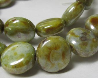 Czech Glass Beads 10mm Opaque Puffed Olive Speckled Green Smooth Coin Beads - 15 Pcs.