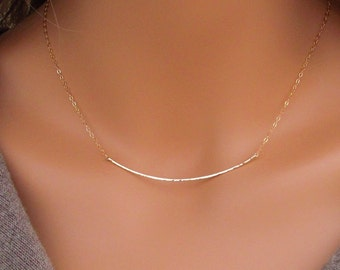 Gold Curved Bar Necklace, Hammered Curved Bar Necklace, 14kt Gold Filled Curved Bar Necklace
