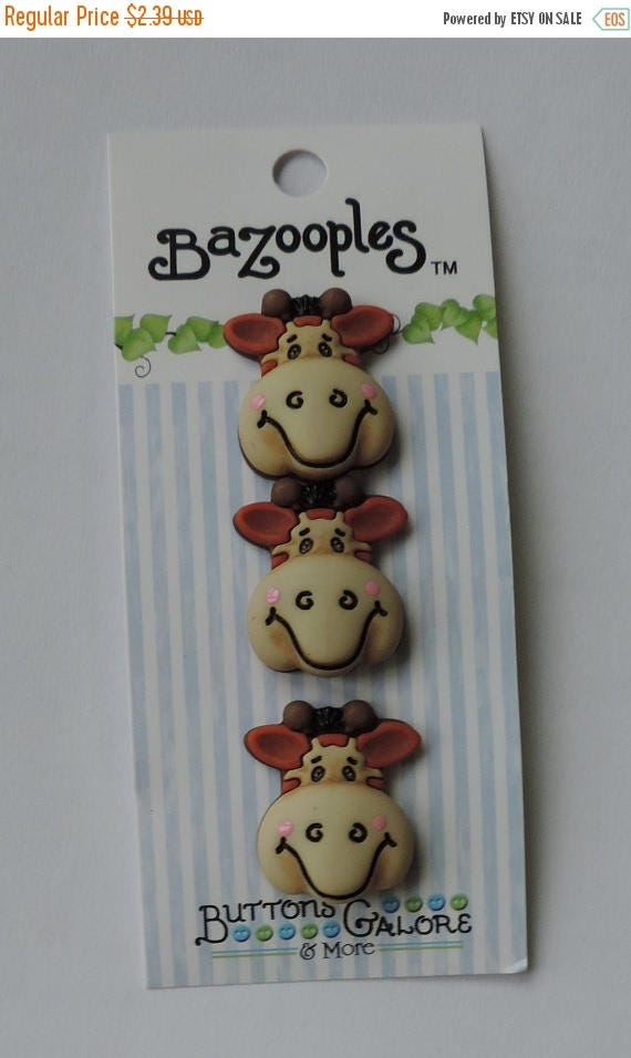 "SALE Giraffe Buttons, ""Gertrude the Giraffe"" Carded Novelty Buttons by Buttons Galore, Shank Back Buttons, Set of 3"