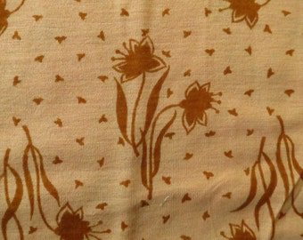 Vintage Floral Knit Dress Fabric Brown Flowers 3 yards