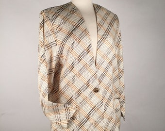 Vintage 90s Blazer, Womens Oversize Blazer, Brown, Blk & Cream, Houndstooth, Windowpane, Rayon, Multiple Sizes, Other Colors, Most Capable!