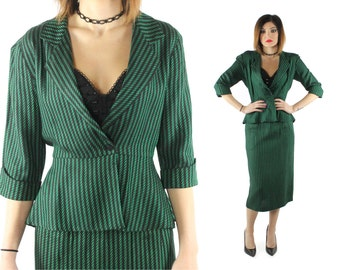 Vintage 80s Suit High Waisted Pencil Skirt Peplum Jacket Blazer Green Striped Holiday Christmas Wiggle Dress 1980s does 1940s 40s Small S