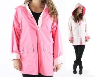 Vintage 80s Pink Raincoat Reversible White Striped Vinyl Waterproof Hooded Jacket 1980s Size Medium Large M L Spring Coat Windbreaker