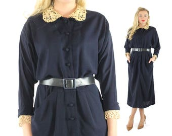 1940s Navy Blue Dress Crochet Collar Button Up Long Sleeves Big Pockets Vintage 40s Large L Art Deco Pinup Rockabilly
