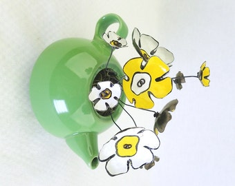 Bright Yellow  and White Forever Blooming Flower Bouquet in Old Green Teapot