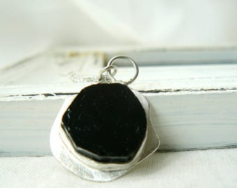 Sterling silver and Black Tourmaline Slice Pendant - Jewelry 925 Gemstones - READY TO SHIP
