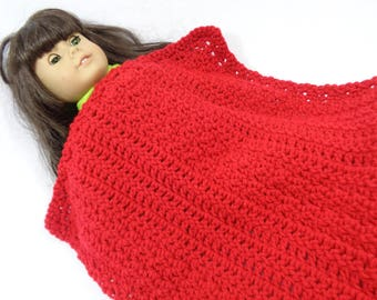 Doll Blanket, Red Baby Doll Afghan Red Infant Snuggie, 18 Inch Doll Blanket, Crochet Soft Doll House Quilt, Gift for Little Girl Easter Gift