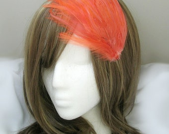 Coral Orange feather fascinator blank Base (5 fastner option) Derby feather cap,fascinator for mardi gras, kentucky derby, or tea party