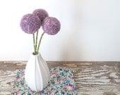 Large Purple Craspedia Flower Arrangement - Pompom flowers - Dyed Wool Felt Flowers - Purple pom poms - Small Centerpiece - Lilac, Lavender