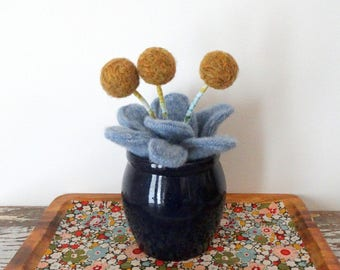 Wool Plant - Agave Cactus Potted Fake Plant - Mustard Pom Pom Flowers - Knit Leaves - Office Desk Decor - Felt Faux Plant - Blue Pottery Pot