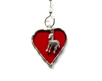 Stained glass heart, I love zebras, glass suncatcher, zebra ornament, zebra lovers, bright red glass heart, whimsical art, mini heart