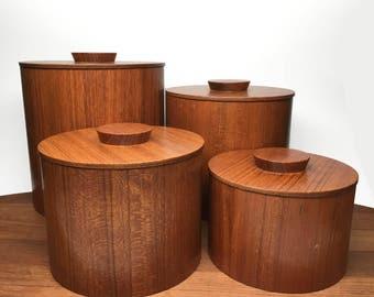 Set of 4 Teak Veneer Canisters - Danish Modern Style