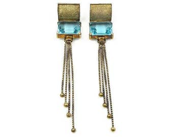 Vintage Aquamarine Glass Gold Plated Long Dangle Fringe Earrings - Pierced Earrings, Chandelier Earrings, Vintage Earrings