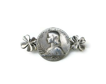 Antique French Sterling Joan of Arc Brooch - Blessed Joan of Arc, France Silver, Commemorative Medal, Coin Brooch, Sterling Brooch