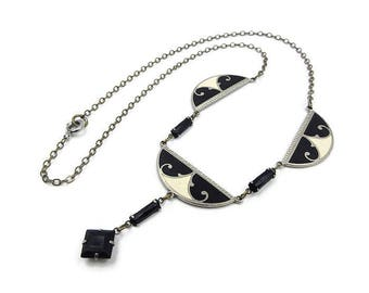 Art Deco Necklace Black White Enamel and Silver Metal - Bib Necklace, Black Rhinestone, Fancy Scrolled, Art Deco Jewelry, Antique Jewelry