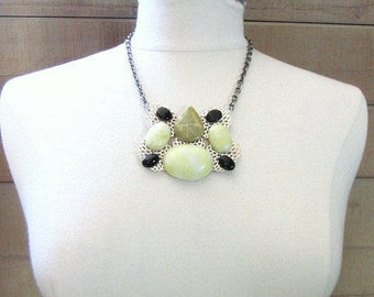 Collage Necklace -- Lime Bib Necklace -- Lime & Black Necklace -- Onyx and Jade Necklace -- Assemblage Necklace -- Lime Statement Necklace