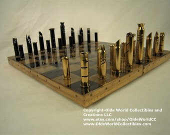 Mixed Caliber Bullet Shell chess pieces.    Optional 11 inch copper banded wooden board #1120160035  -Free Shipping to U.S.