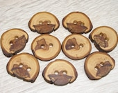 "9 Handmade apple wood Tree Branch Buttons with Bark, accessories (1,18"" diameter x 0,20"" thick)"