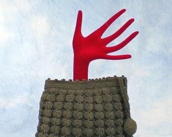 20% OFF Vintage 30s Dark Taupe Crocheted Corde Clutch Bag Handbag, Ball Tassel Pull, Zip Top