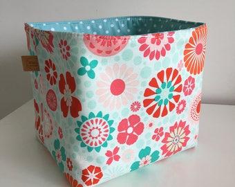 Reversible Fabric Basket - Aqua, Pink, Orange + Red Flowers