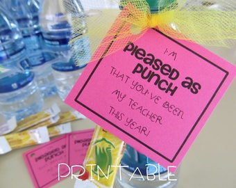 Printable- PDF- Pleased as Punch that You are my Teacher tag - Teacher Appreciation Idea- three versions included