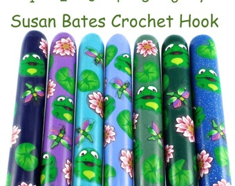 Crochet Hook,  Polymer Clay Covered Susan Bates Crochet Hook, Frog Design