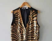 Vintage TIGER Sequin Vest Waist Coat (s-m)